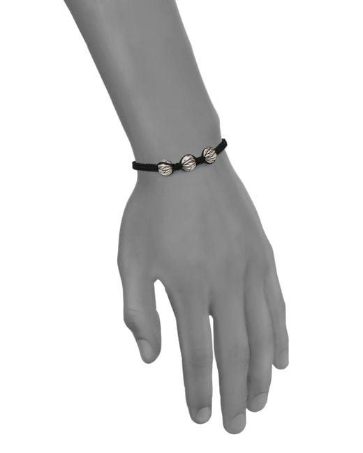 King Baby Studio   Black Sterling Silver & Cotton Cord Drawstring Bracelet for Men   Lyst