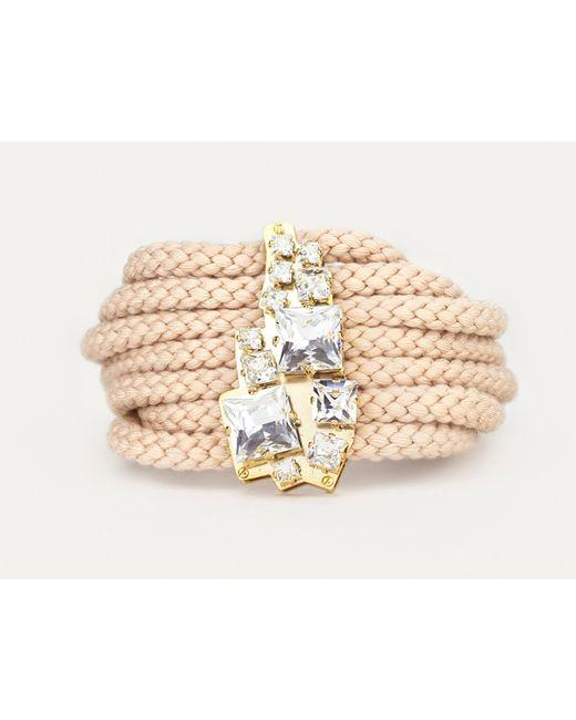 Sabrina Dehoff | Natural Chunky Cord Bracelet With Swarovski Plate | Lyst
