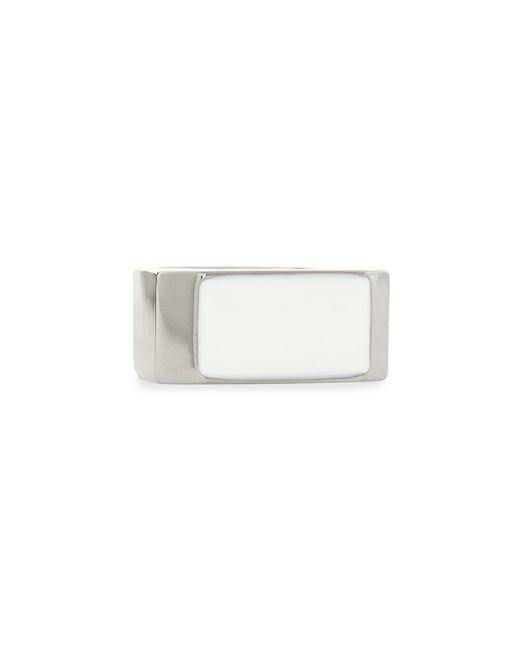 Saint Laurent | White/silvertone Colorblock Ring | Lyst