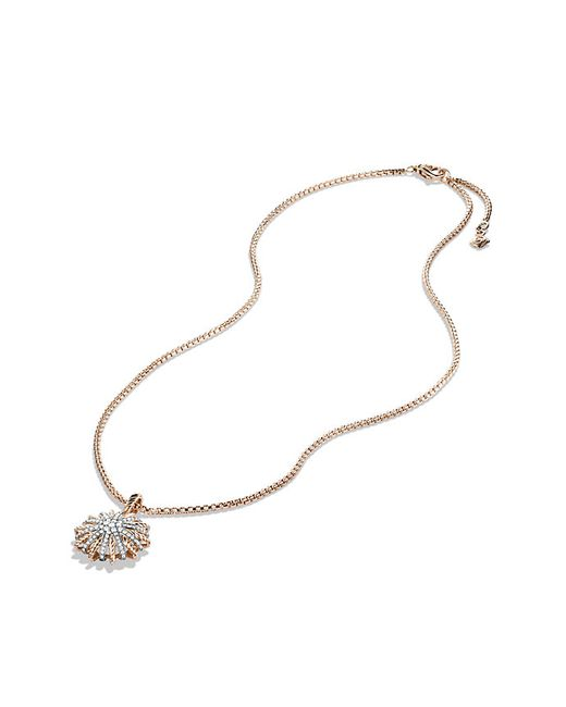 David Yurman | Pink Starburst Pendant Necklace With Diamonds In Rose Gold | Lyst