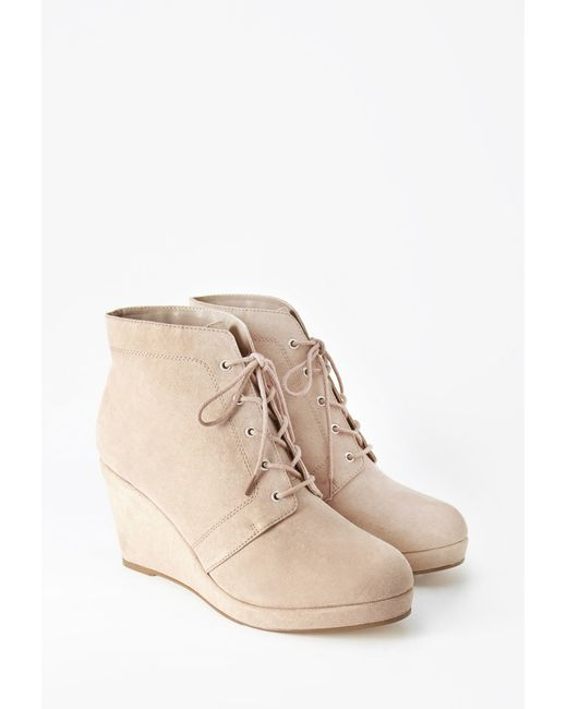 Forever 21 | Natural Faux Suede Wedge Booties (wide) | Lyst