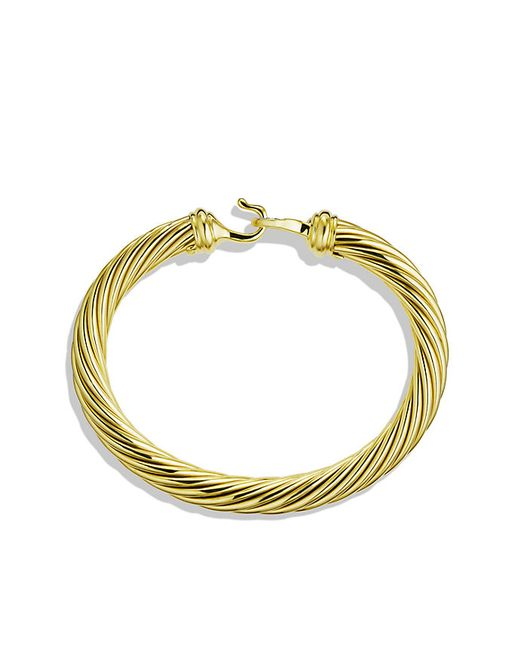 David Yurman | Metallic Cable Classic Buckle Bracelet With Diamonds And 18k Gold, 7mm | Lyst