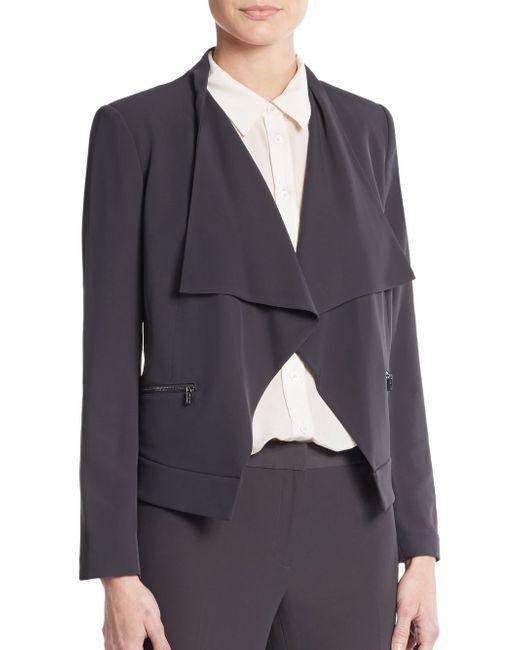 Calvin Klein | Gray Draped Open-front Blazer | Lyst