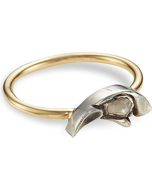 Annina Vogel | 9ct Yellow-gold Crows Head Rose-cut Diamond Ring | Lyst