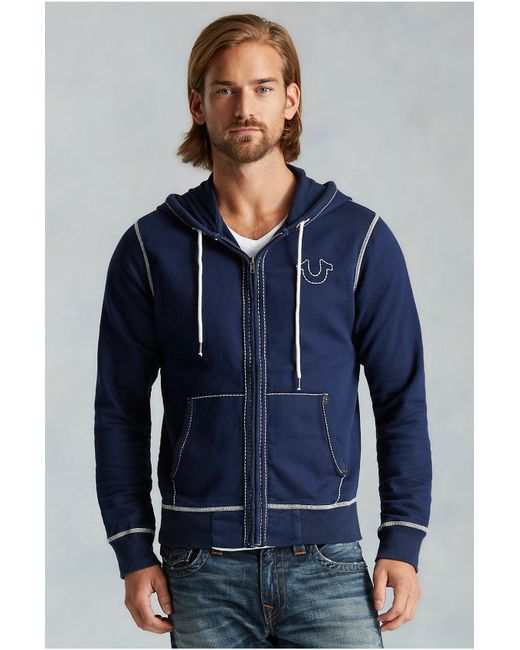 True Religion | Blue Contrast Big T Stitch Mens Hoodie for Men | Lyst