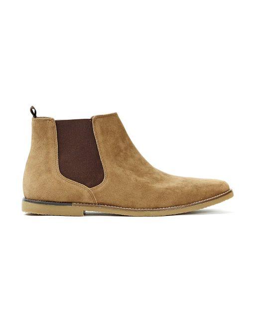 topman beige faux suede chelsea boots in for
