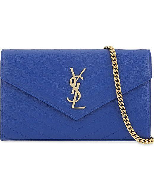 Saint Laurent | Blue Monogram Quilted Leather Shoulder Bag | Lyst