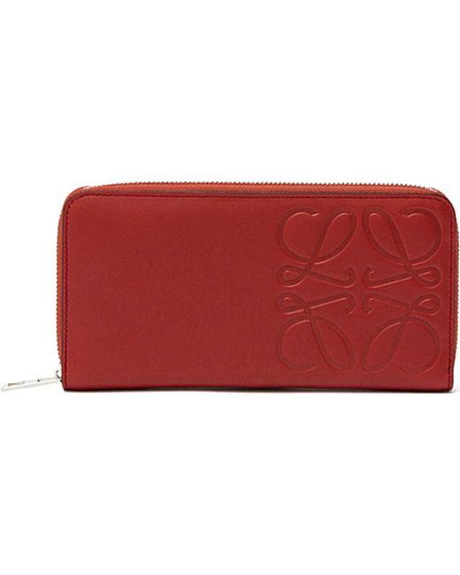 Loewe   Red Logo-embossed Zip-around Wallet   Lyst