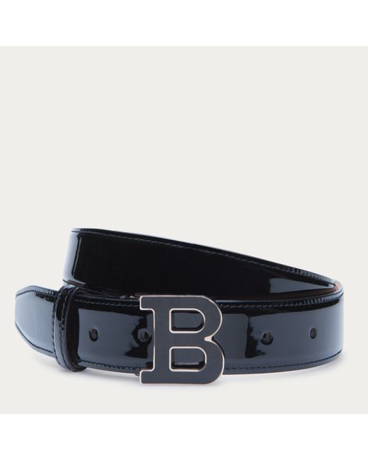 bally b buckle s patent leather belt in black in