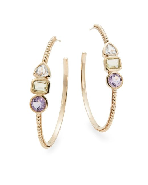 Stephen Dweck | Purple Clear Quartz, Lemon Quartz, Amethyst & Bronze Hoop Earrings/2.5"