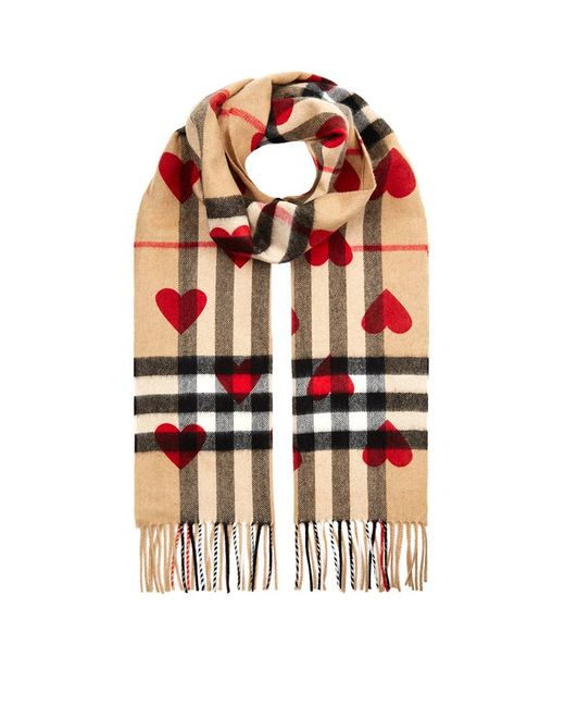 Best Work Gloves >> Burberry Classic Cashmere Check Heart Scarf in Red | Lyst