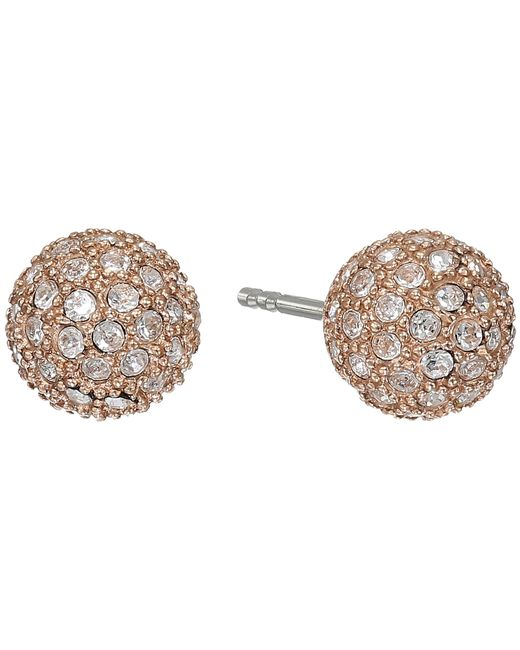 Fossil   Pink Pave Ball Studs Earrings   Lyst