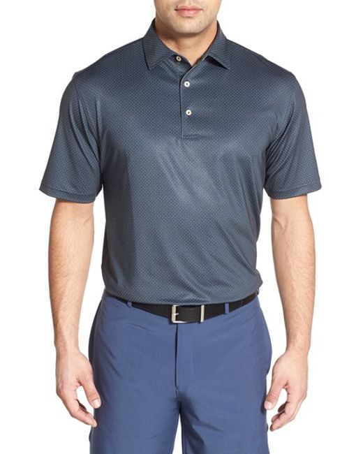 Peter millar button up golf polo shirt in black for men for Peter millar women s golf shirts