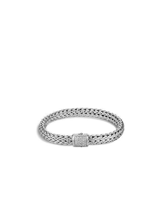 John Hardy | Metallic Classic Chain Sterling Silver Medium Bracelet With Diamond Pave Clasp | Lyst