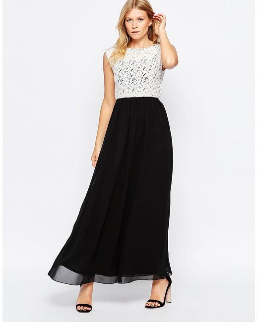 Club l Lace Top Maxi Dress With Chiffon Skirt in Black   Lyst