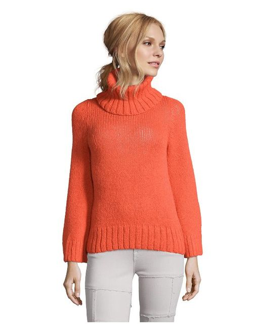 Orange Turtleneck Sweater Womens