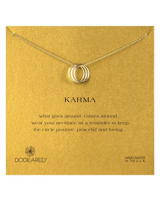 Dogeared | Metallic Mixed Metal Triple Karma Ring Pendant Necklace | Lyst