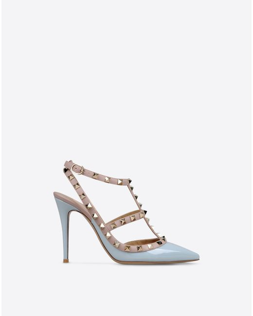 Valentino | Blue Rockstud Studded Patent Leather Pumps | Lyst