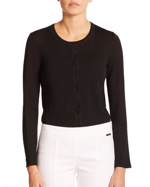 Tory Burch | Black Merino Wool Cardigan | Lyst