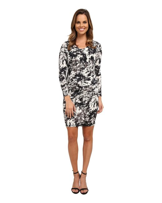 DKNY | Black Marble Sleek Jersey Ruched Dress | Lyst
