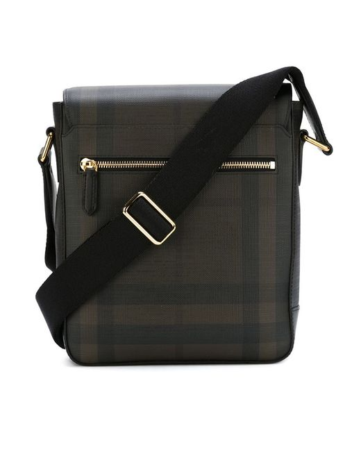 burberry checked messenger bag in brown for lyst