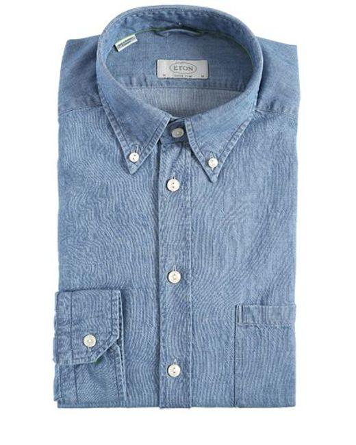 Eton Of Sweden Super Slim Fit Cotton Denim Shirt In Blue