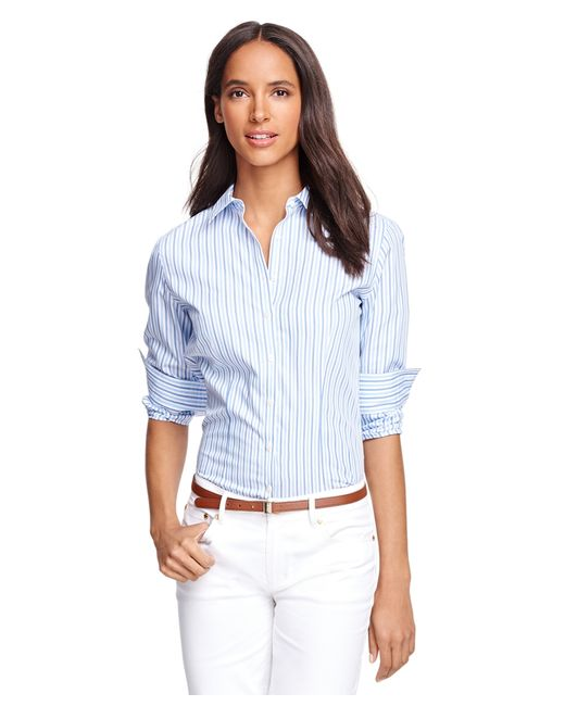 Brooks Brothers | Blue Petite Non-iron Fitted Supima® Cotton Stripe Dress Shirt | Lyst