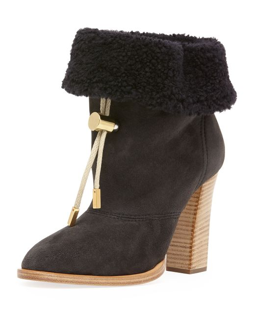 Chloé | Black Harper Lace-up Velvet Ankle Boot | Lyst