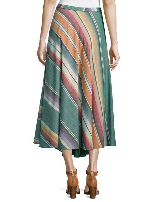 neiman bias cut striped cotton maxi skirt in