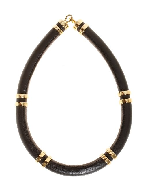 Lizzie Fortunato | Black Leather Tube Necklace | Lyst