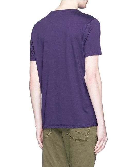 Paul smith 39 badge 39 print organic cotton t shirt in purple for Organic cotton t shirt printing