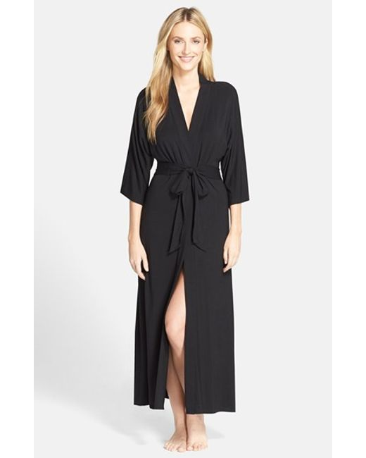 DKNY | Black 'urban Essentials' Long Robe | Lyst