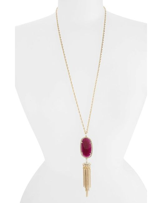 Kendra Scott | Green Rayne Stone Tassel Pendant Necklace | Lyst
