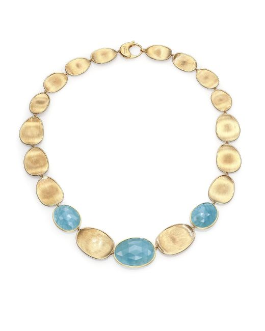 Marco Bicego | Metallic Lunaria Aquamarine & 18k Yellow Gold Small Collar Necklace | Lyst