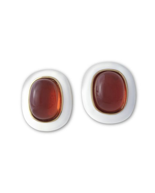Kenneth Jay Lane | Red White And Ruby Clip Earring | Lyst