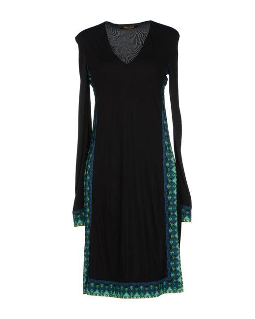 Roberto Cavalli | Black Wrap-effect Stretch-georgette Dress | Lyst