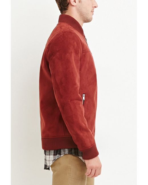 Forever 21 | Red Faux Suede Bomber Jacket for Men | Lyst
