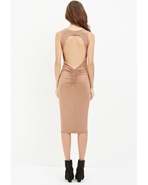 Forever 21 | Natural Cutout-back Midi Dress | Lyst