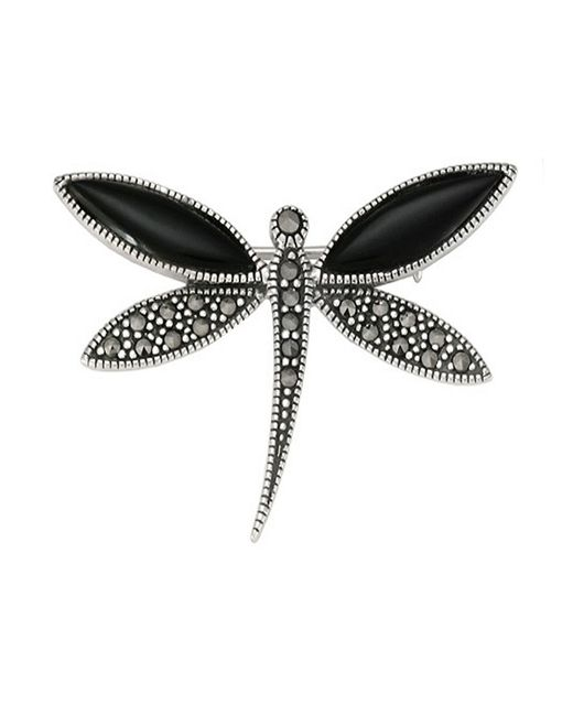Lord & Taylor | Black Marcasite Stone And Onyx Dragonfly Brooch | Lyst