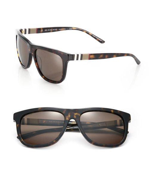 Burberry | Brown 58mm Square Sunglasses for Men | Lyst