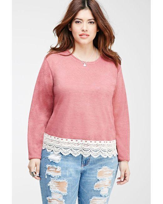 Forever 21 | Pink Plus Size Crochet-trimmed Slub Knit Top | Lyst