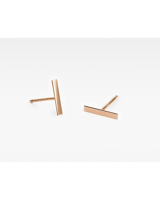 Vrai & Oro | Pink Line Stud Earrings | Lyst