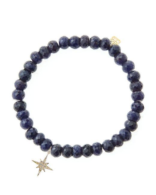 Sydney Evan | Blue Sapphire Rondelle Beaded Bracelet With 14K Gold/Diamond Small Starburst Charm (Made To Order) | Lyst