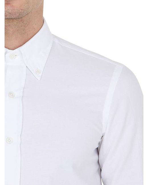 Salvatore piccolo slim fit button down oxford shirt in for Mens white oxford button down shirt