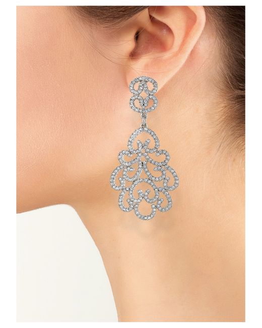 Kenneth Jay Lane | Metallic Crystal Scrollwork Clip Earring | Lyst