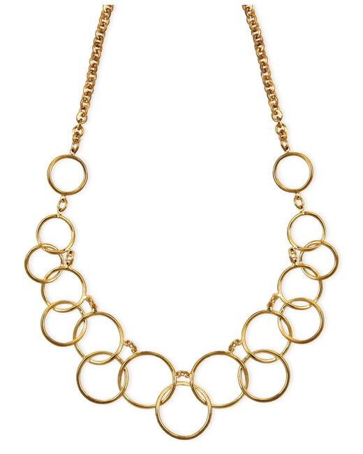 Nine West | Metallic Necklace, Gold-tone Circle Frontal Necklace | Lyst