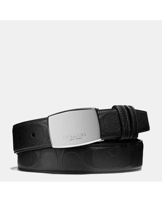 COACH | Black Dress Plaque Cut-to-size Reversible Signature Crossgrain Belt | Lyst