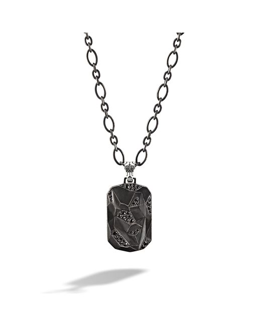 John Hardy   Black Dog Tag Pendant On Chain Necklace for Men   Lyst