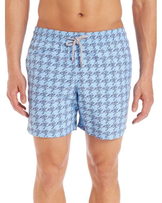 Vilebrequin fish foot printed swim shorts in grey for men for Fishing swim trunks