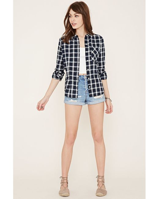Forever 21 Check Flannel Shirt In Blue Navy Blue Lyst